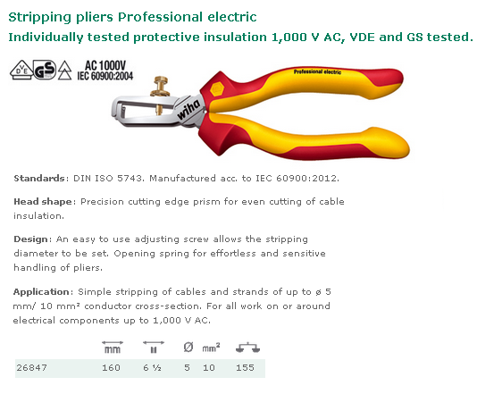 PINCE A DENUDER 160  PROFESSIONAL ELECTRICIEN 26847
