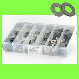 Låda med sorterade platta brickor M + L rostfritt stål A2 NFE 25513
