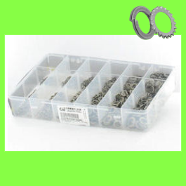 Låda med sorterade brickor W + ET rostfritt stål A2