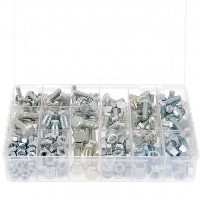 Låda med 800 SH + muttrar M4-M5-M6 av stål 8.8 förzinkad vit Din 933