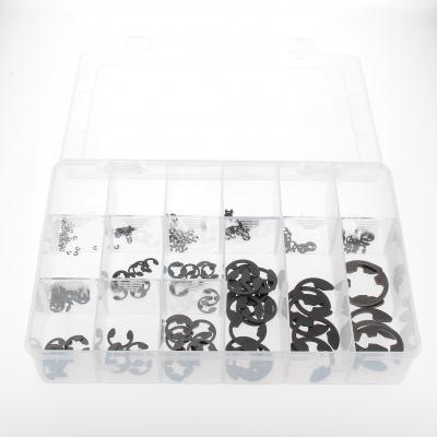 Låda med sorterade flänsar svart stål Din 6799