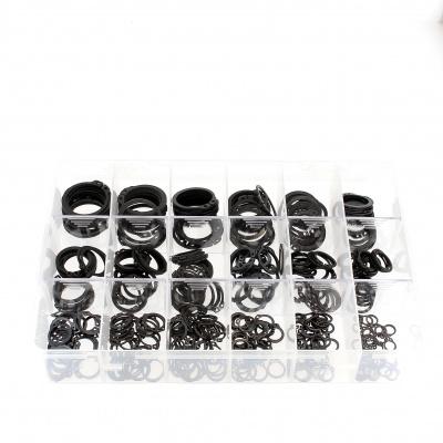 Låda med sorterade externa Circlips av svart stål Din 471